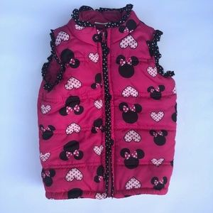 Minnie Mouse Puffer Vest, Pink/Black, 4T/5T, EUC